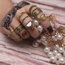 14pcs/Set Silver Gold Color Moon And Sun Midi Female Ring Sets 2017 Fashion Vintage Red Big Stone Knuckle Rings Gift