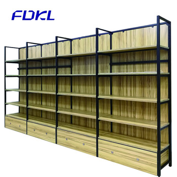 Manufacture wooden display gondola wall shelves