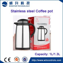 1L and 1.3L coffee pot 304 Stainless steel body with glass Vacuum Flask / Thermos/coffee pot for gift and commerical