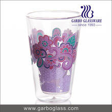 2017 hot sale cheap new design 10oz 300ml hand blown double wall child drinking water glass purple colored with decals