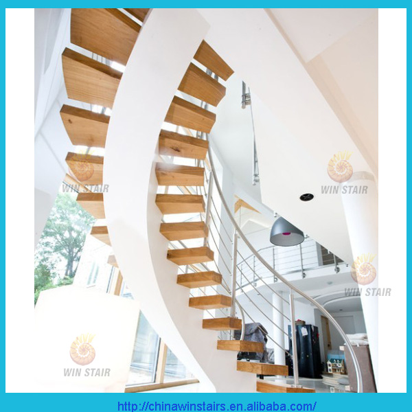High quality central spine Curved steel wood stairs white painting stringer arc stairs