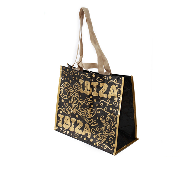 Luxury style fancy gold design pp woven laminated shopping bag with tote