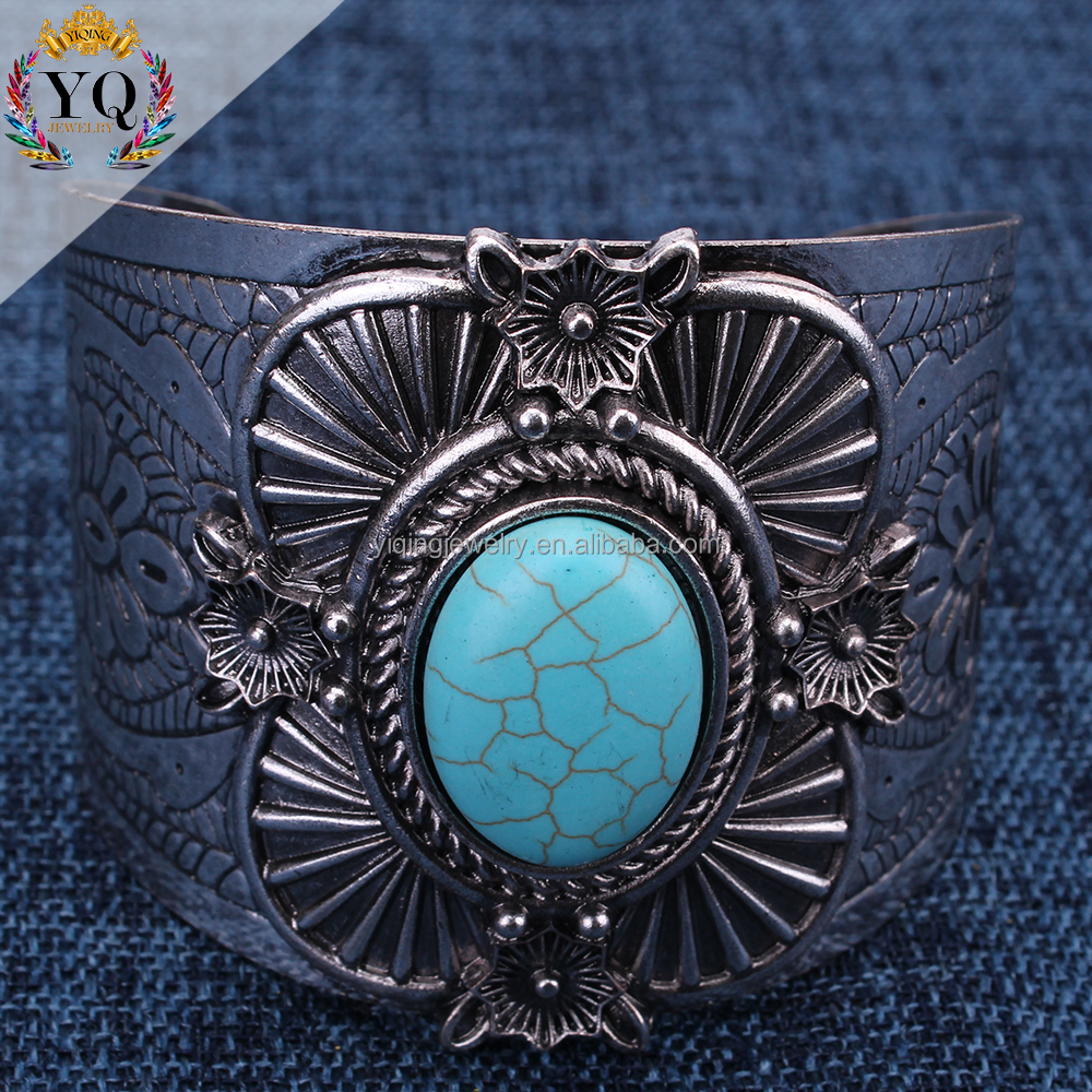 BYQ-00111 wholesale elegent antique silver metal turquoise retro adjustable stone bracelet for women party use