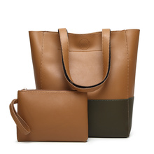 Fashion 2pcs in 1set bag , patch-work leather tote bag with coin purse