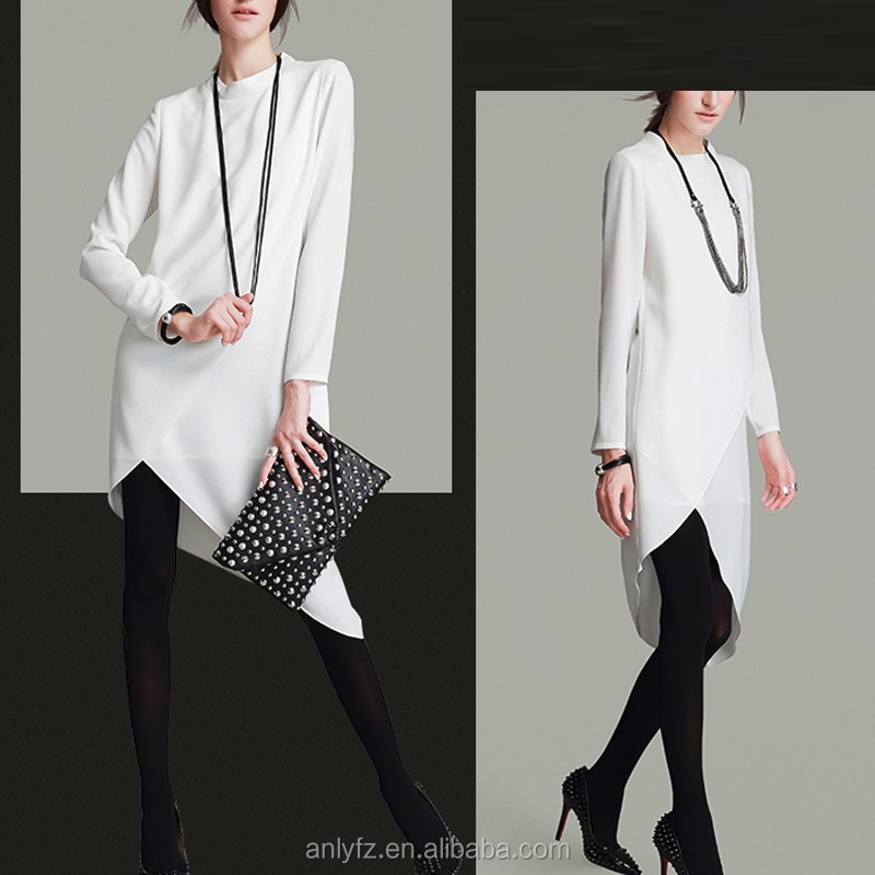 Anly new fashion formal long sleeve o neck plain black and white irregular chiffon dresses
