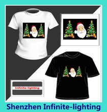 Custom Merry Christmas Women and Men LED T Shirts Sound Activated Flashing Amazing Music Party Equalizer EL T-Shirts 2015