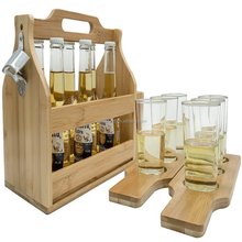 Wooden Bottle Caddy with Opener & Sampler Boards, 6-Pack Drink Holder for Beer, Soda, Perfect for Bar, Pub, Restaurant