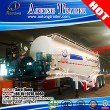 Tri-axle 25-80tons bulk cement tank trailers / dry bulk cement powder tanker with air compressor