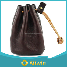 Custom hot sale fashion drawstring leather coin pouch