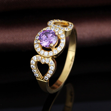 2017 Latest Gold Plated Finger Amethyst Ring Designs For Women