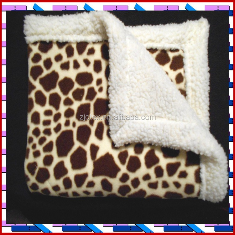 Giraffe Fleece backed with Sherpa small Dog Blanket