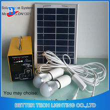 Manufacturer China solar power system home Yellow Shell Mini 5W Solar Energy System With LED Bulb