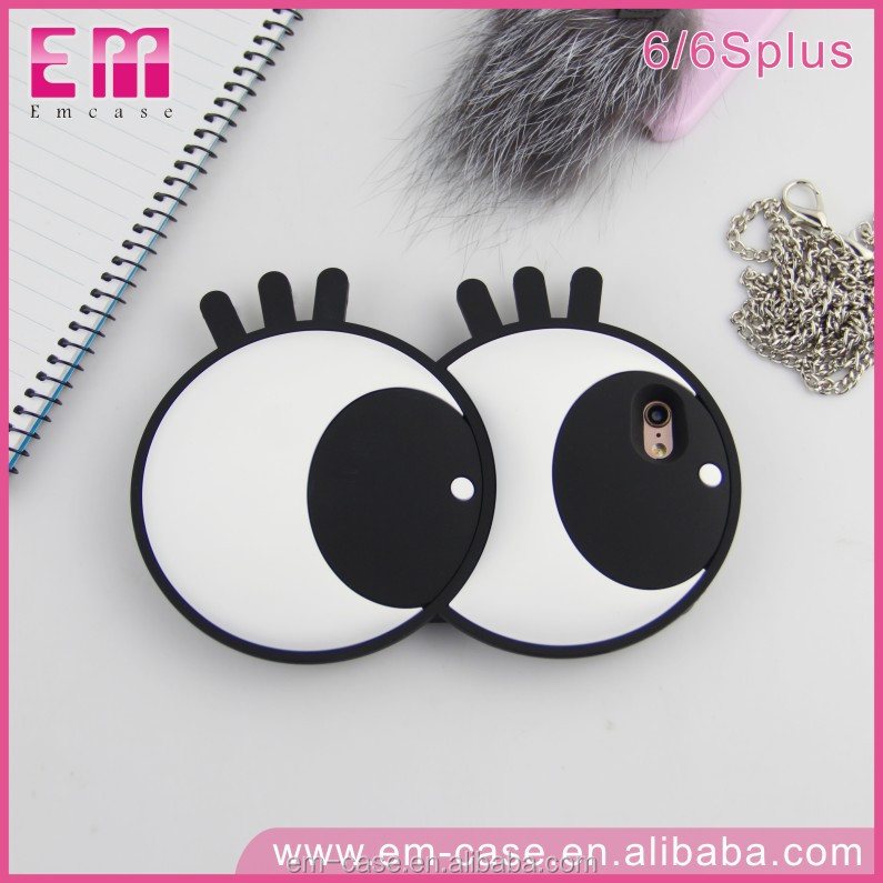 Wholesale Price Cute Big Eyes Silicone Soft Case for iPhone6 6Plus Phone Face Cover