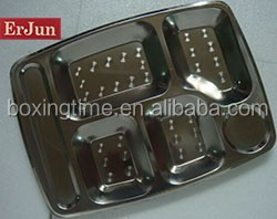 Wholesale big Five lattices stainless steel fast food dishes used to student