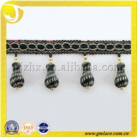 Noble Black Beads Curtain Trim Lace,Trimming ,Curtain Tassel Fringes and Trims for Curtains