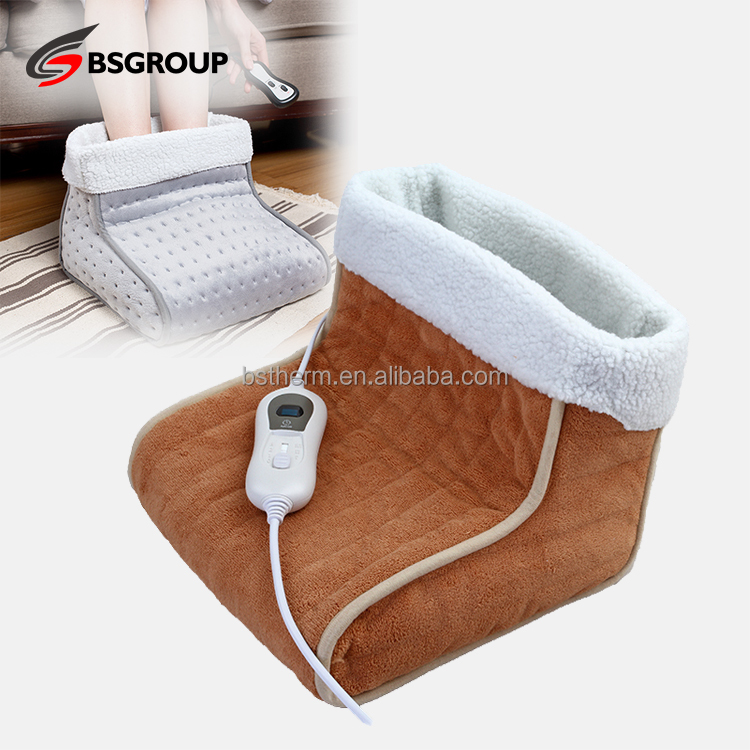 Hot soft synthetic wool massage electric heating boots foot warmers for elderly