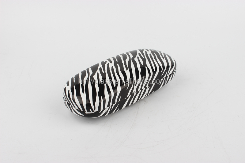 zebra-stripe eye glasses case,Black and white match spectacle case,metal pu sunglasses case