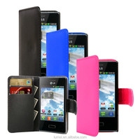 Pu Leather Wallet Flip Book Phone Case Cover For LG Optimus L3 E400