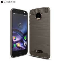 Laudtec Carbon Fiber Silicone Tpu Back Cover Case For Motorola <strong>Z</strong>