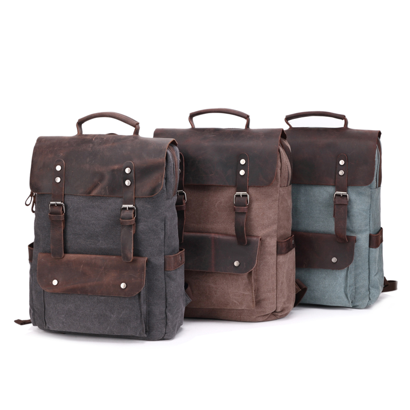 Fancy Eminent Shockproof Canvas Laptop Bags Backpacks with Top Leather