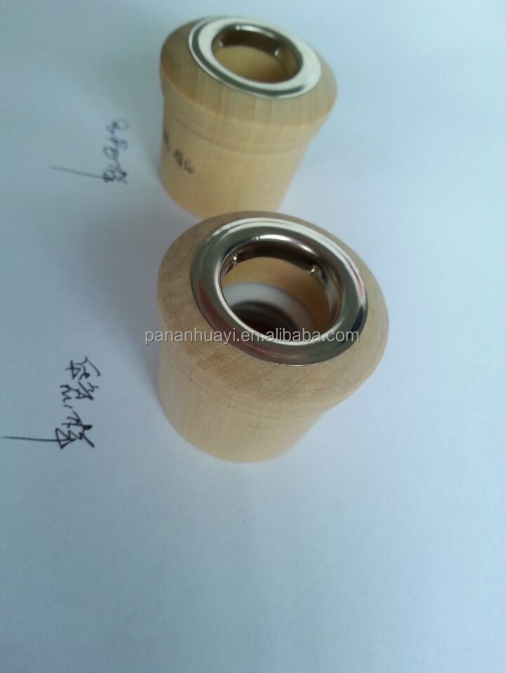 Stock supply 24mm white color thread perfume glass bottle 's wooden top with metal ring