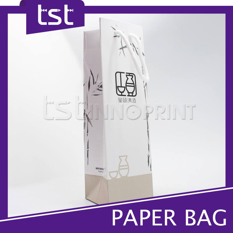 Customized Foldable Wine Gift Bag With Handles