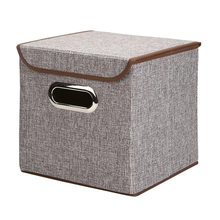 3 Pack Foldable Storage Box Metal Handles Fabric Storage Cubes With Lids