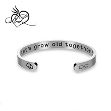 Double Sided Cuff Bangle - You will forever be my always/Let's grow old together Valentine Gift for Lover