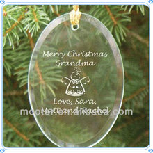 Hanging Clear Flat Glass Ornaments For New Christmas