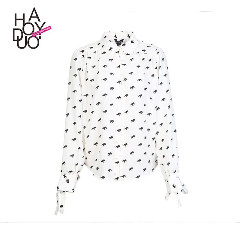 HAODUOYI Printed Fashion Shirts Women Long Sleeve Trun-down Collar Female Tops Printed patterns Loose Casual Blouse wholesale