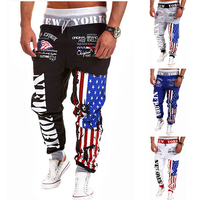 Amercian flag design men jeans jogger sweatpant men jogger denim sweatpant for men sport trousers