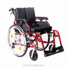 Varnished aluminum frame wheelchair with quick release rear wheels