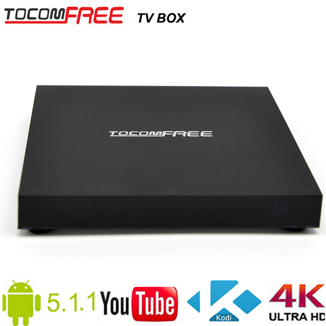 Full HD world DVB-S2 Android TV box amlogic S905 quad-core Tocomfree TV box with free shipping cost