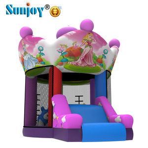 Professional Quality Indoor Bouncy Trampoline Bouncer Princess Crown Carousel Inflatable Bouncing Castle With Slide And Jumping