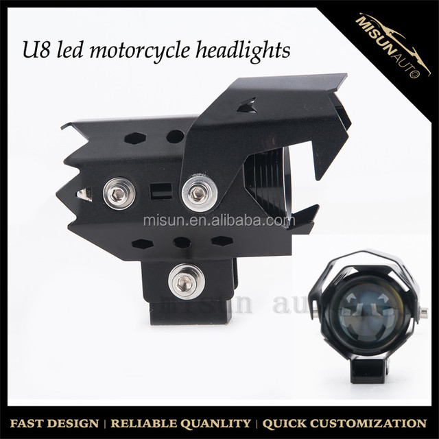 Motorcycle Car LED Headlight U7 LED Fog Lamp Front Spot Light With Angle Eyes Light Ring 1PC White Halo