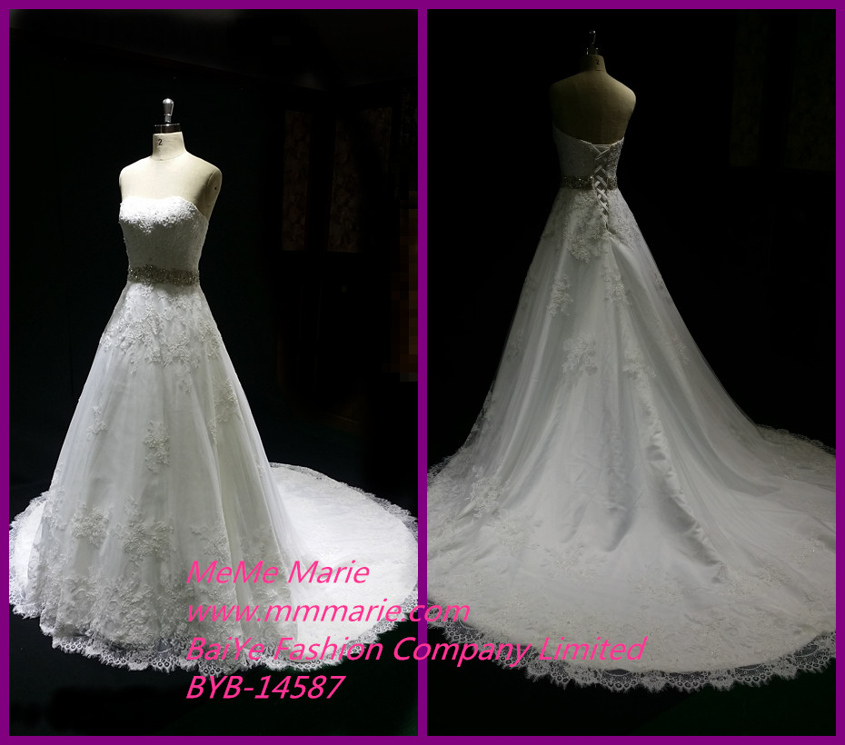New Model 2014 Wedding Dresses Long Tail Bridal Gowns with Appliqued Fabric Lace BYB-14587