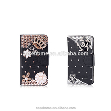 Bling Crystal Diamonds leather stand flip cover for samsung galaxy j2