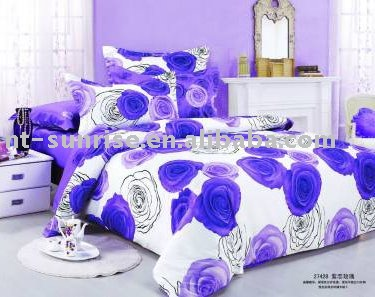 100% Cotton Purple Bedding Set Colorful Fabric