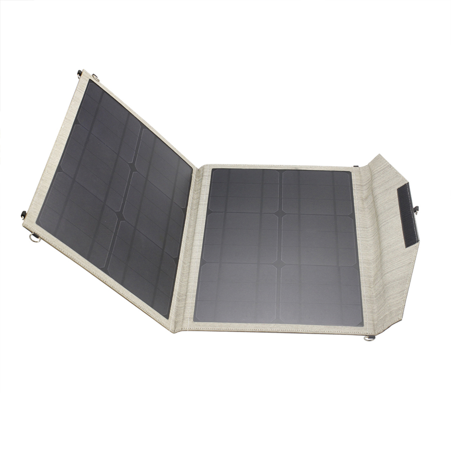 30w folding solar power charger with DC 5v and 18v ports