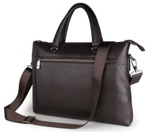 7314Q Coffee Genuine Cow Leather Simple Style Men's Briefcase Handbag Laptop Briefcase Office Bag