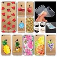 Novelty Fundas Phone Case Cover For Apple iPhone 6 6S Fruit Pineapple Lemon Watermelon Silicon Transparent Coque Capa Celular