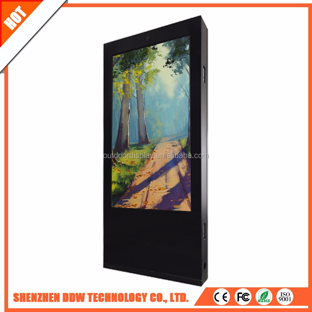 65 inch floor stand large format double sided digital signage kiosk double sided tv screen