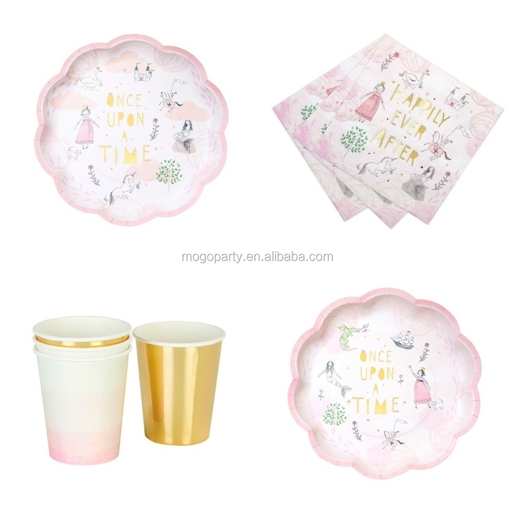 Fairy Tale Party, Pink & Gold Girls Birthday Party Plates Cups & Napkins