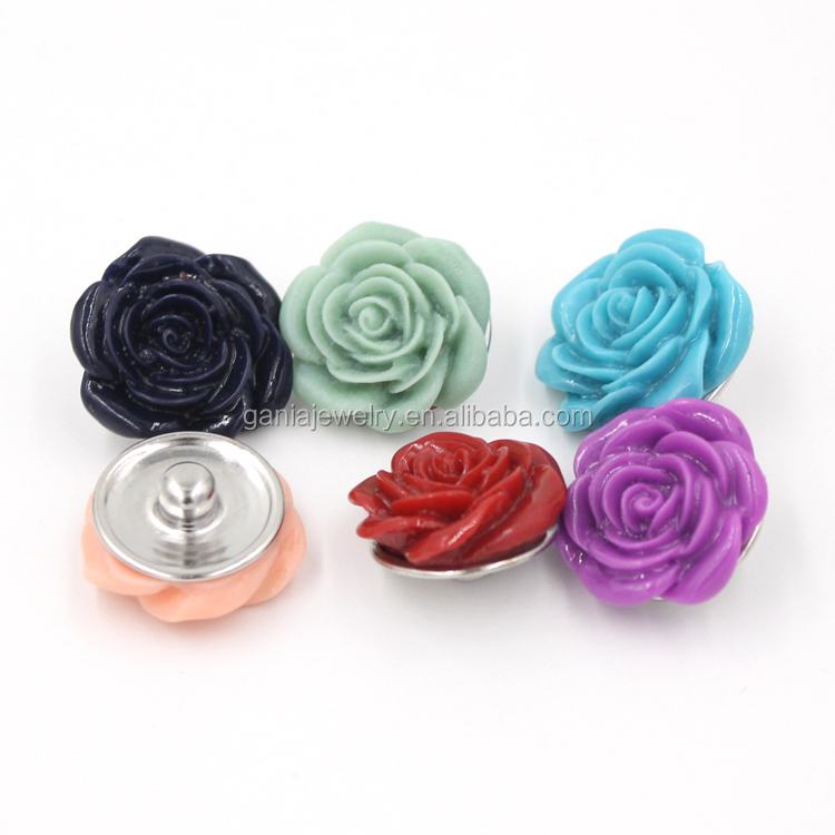 Wholesale Snap Jewelry Findings 18mm Resin Buttons Resin Flower Rose Buttons for Bracelet Necklace Earrings Pendant Jewelry