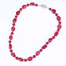red galss coral love necklace