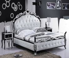 Italian high back wood bed , Baroque luxury bed in foshan furniture