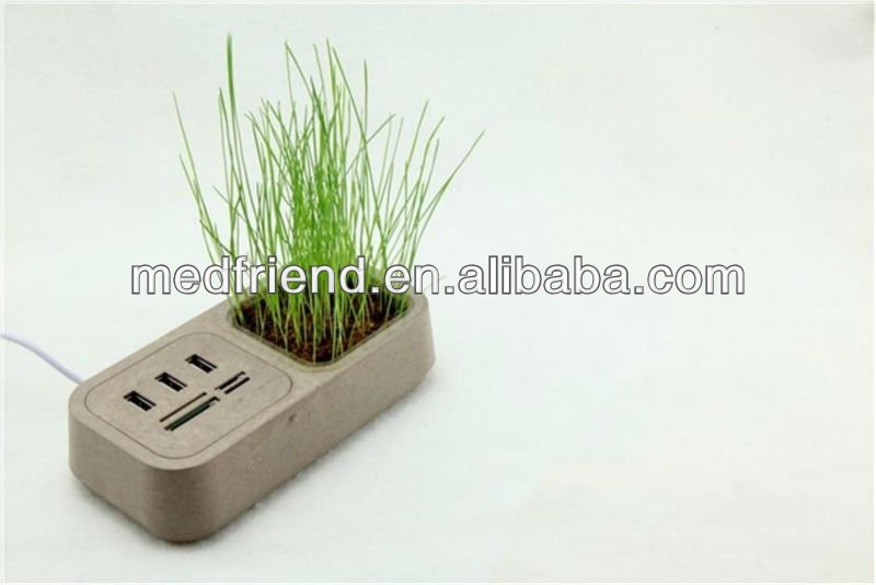 USB HUB with Card Reader/Grass Green Life