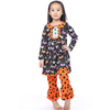 Girls fall boutique outfits baby clothing orange polk dot ruffle set Latest knit cotton fashion girls halloween outfit