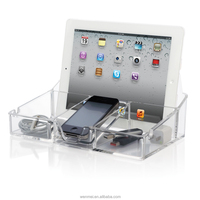 Hot sale Clear Acrylic tech smartphone and tablet desktop organizer