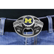 "Lead & Nickel Free University Of Michigan Wolverines ""Official Tailgater"" Belt Buckle With Bottle Opener"